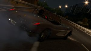 Drifting vette from behind by CWRudy