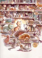 Cat Library by mikemaihack