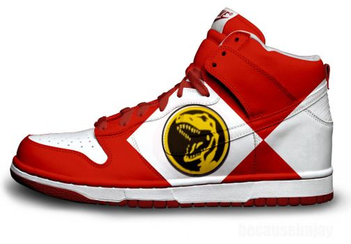 Red Power Ranger Nike Dunks by becauseimjay