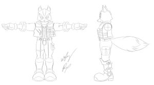 SSBB Fox McCloud Line Art by GunZcon