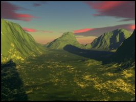Late Afternoon Valley by nevergetfooledagain