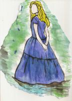 Alice in wonderland watercolour by Lizzie-J-Clarke