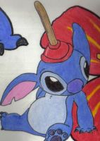Stitch With Plunger - KirbyZen by liloandstitchfans