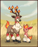 Contest entry: Fire Sawsbuck and Deerling by Reina-Kitsune