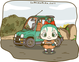 DRAGONBALL..cute bulma and car by SaMtRoNiKa
