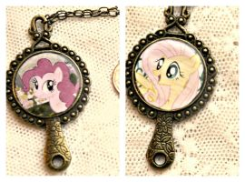 My Little Pony Fluttershy and Pinkie Pie Necklace by elllenjean