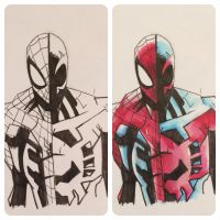 Half Spider-man and 2099 after Humberto Ramos by ethancastillo