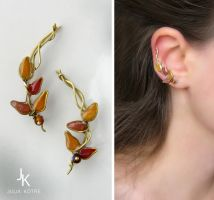 Ear pins Autumn Branches by JSjewelry