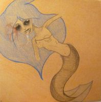 Mermaid on Cardboard by RanebowStitches