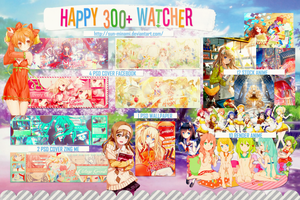 Pack Share Happy 300+ Watchers by Sun-Minami