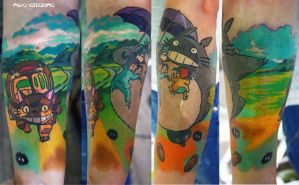 totoro and catbus tattoo by NikaSamarina