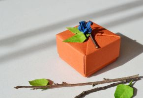 Orange origami gift box by ReverseCascade
