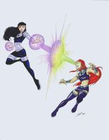 Starfire and Blackfire by rice-claire