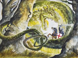 Saint George and the Dragon (Watercolor) by AlexandraBowmanArt