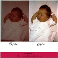 Before and after Color Correction Baby Photo by TrisStock