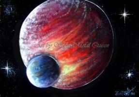 Two planets - red and blue. Space art by SOFIAMETALQUEEN