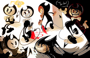 bendy doodles by flatw00ds