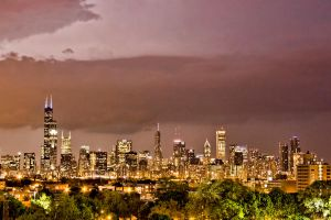 Chicago in a heat lightening storm by arnaudperret