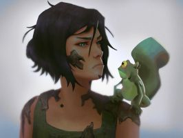 Korra and Frog by Narasura-of-Kashi