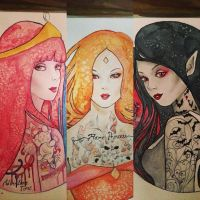 PrincessBubblegum, FlamePrincess and Marceline WIP by ravenlachrimae