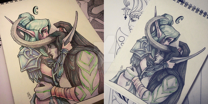 Tyrande and Illidan by AyrinKey