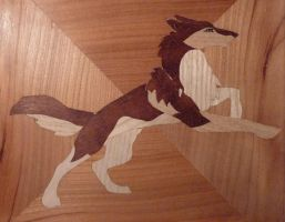 wolf marquetry by valajim