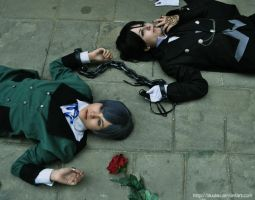 chained sebastian and ciel by LauzLanille