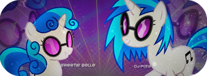SB and DJ-P (Vinyl Scratch) by Misuuzu