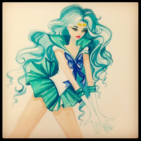 Sailor Neptune watercolor by Shimakotodo
