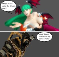 Injustice: Morrigan Aensland vs Scorpion by xXTrettaXx