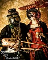 Steampunk couple by swampfoxinsc