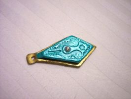 Metalic blue and gold pendant by tobilou