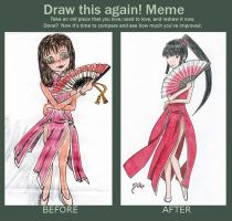 Meme: Before and After: girl with fan by Melfe