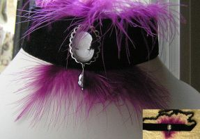 purple goth victorian necklace - feathers - plume by kaitani81