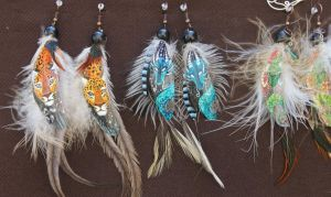 Earrings with Painted Feathers by 00BlacKBerrY00