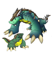 Crocomon and Crocdramon by neoarchangemon