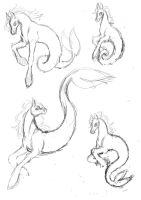 Hippocampus Stallion Sketch by inkscribble