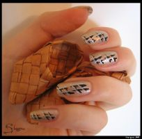 Silver and Lapti - nail-art by Shangova