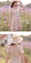 Lace-Up Front Floral Dress-L21032 by littlepawfashion