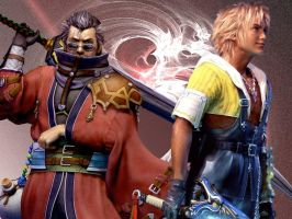 Auron and Tidus Wallpaper by MrsHighwind