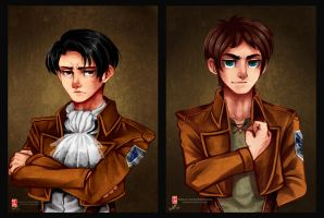 Cartoony SnK - Rivaille and Eren by Rebe-chan-vk