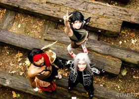 Jecht, Yuffie+ Sephiroth: Staring Up at the World by ManticoreEX