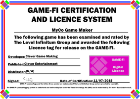 MyCo Game Maker Game-Fi Certificate by LevelInfinitum