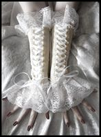Ivory Corset Arm Warmers by ZenAndCoffee