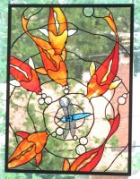 Stained Glass Koi Panel 3 by trilobiteglassworks