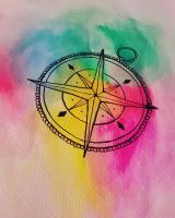 watercolor compass by Kaylababe75