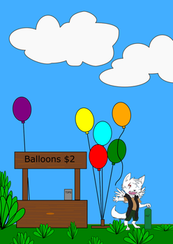 Pup Nova and his Balloon Stand by LongbowSR