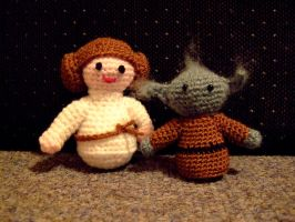 Princess Leia and Yoda by knerdy-knits