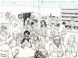 Everybody Comes to Ricks p. 2-3 pencils by DGanjamie