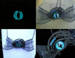 Custom for Lady Mariya - Wings Necklace Brooch by LadyPirotessa